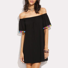 Off Shoulder  Fringe  Patchwork Casual Dresses
