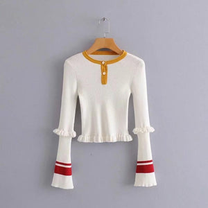 Chic contrast striped trumpet sleeve sweater