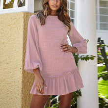 Casual Loose Show Thin   Pure Color Pleated Mini Dresses