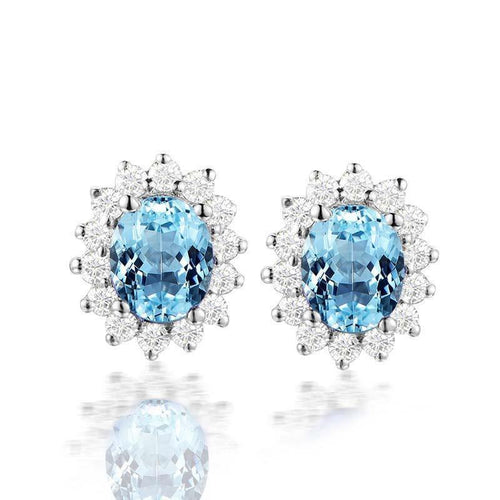 925 Sterling Silver Inlaid Natural Topaz Earrings