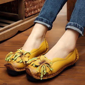 Handmade Leather Soft Bottom Shallow Flat Women's Shoes