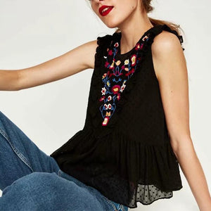 Sleeveless Round Neck Embroidery Blouse