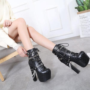 Heavy metal decoration 16CM super high heel thick ankle boots
