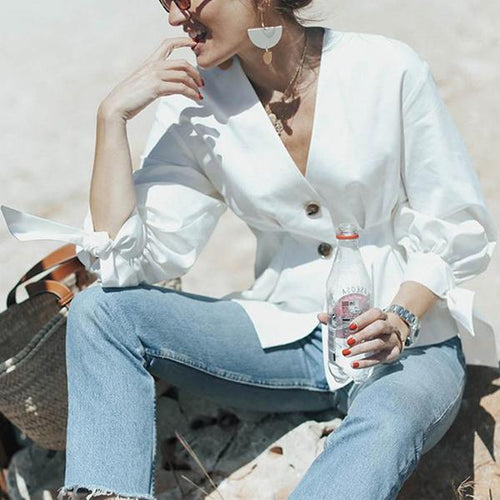 Fashion V-Neck Bow Cropped Sleeve Shirt