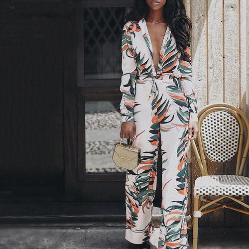 9d713017c9 Fashion Autumn Deep V-Neck Print Jumpsuit