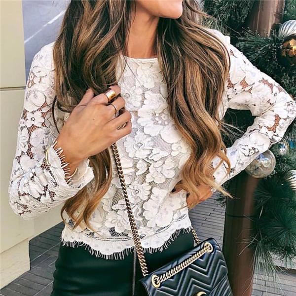 Sexy Round Necked Lace Shirt