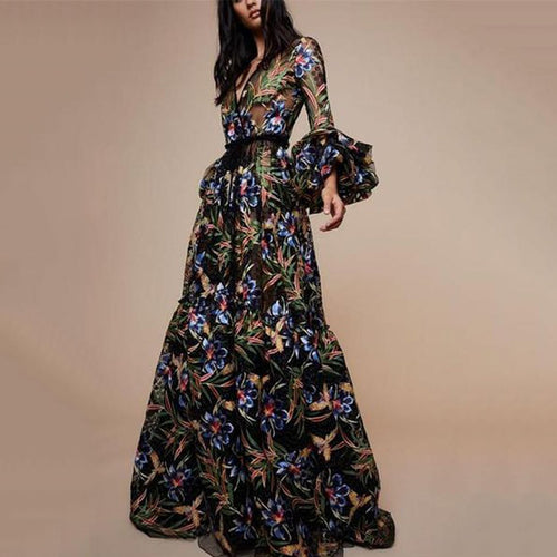 Sexy V-Collar Print Long-Sleeved Maxi Dress
