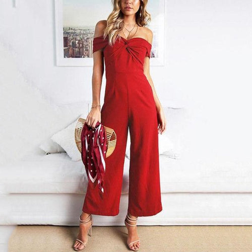 Off-The-Shoulder Pleated Jumpsuit