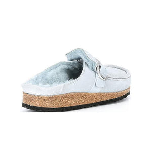(BFCM Flash Deals) Prettyava Women Suede Upper With Buckle Detail Inner Wool Clogs