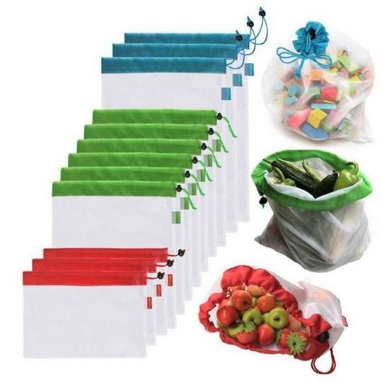 Reusable Produce Bags Mesh Grocery Bags (12Pcs)