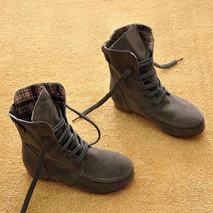 Meikoshoes Comfortable Lace Up Flat Autumn Boots