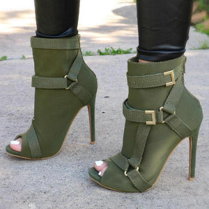 Meikoshoes Back Zip Peep Toe Stiletto Heel Ankle Boots