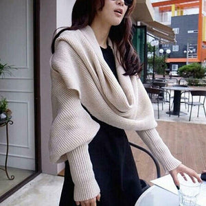 HOT SALE - Crochet Sweater-Scarf With Sleeves