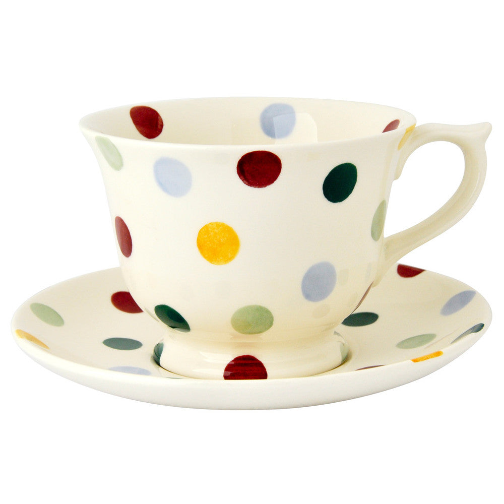 Polka Dot Tea Cup and Saucer