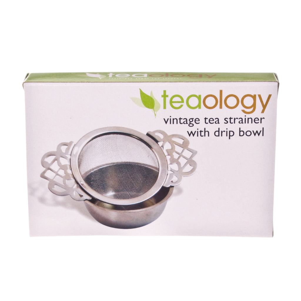 Vintage Tea Strainer with Drip Bowl - Stainless Steel