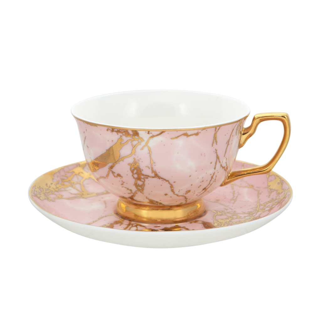 Crystalline Teacup & Saucer Rose Quartz
