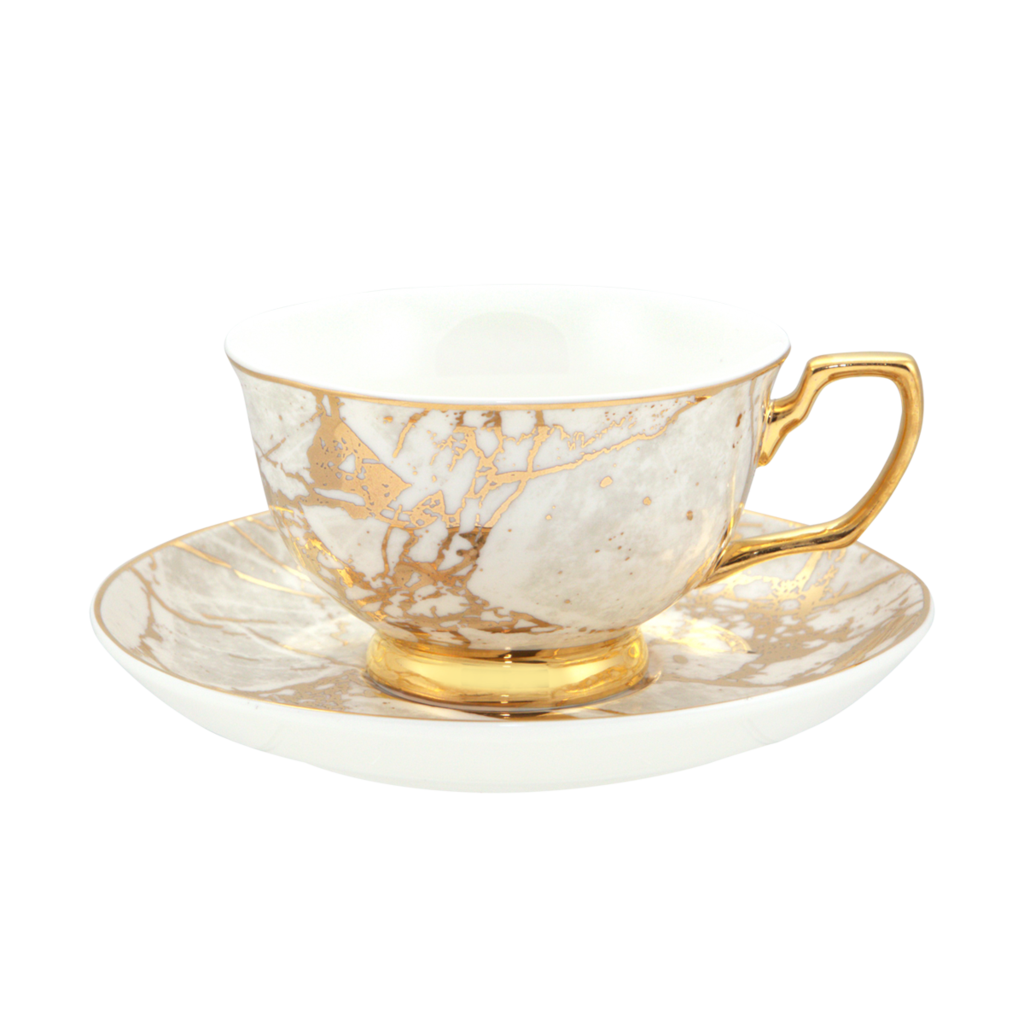 Crystalline Teacup & Saucer White
