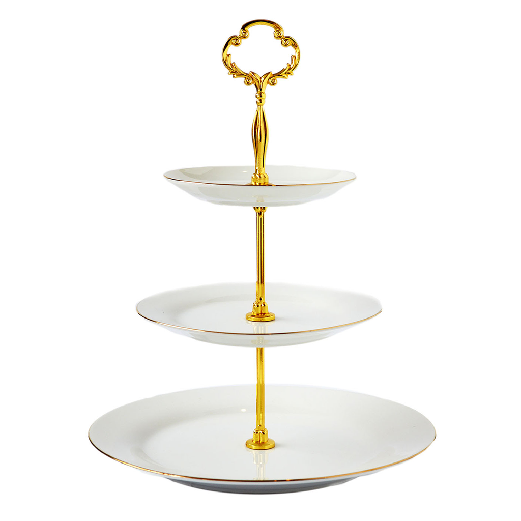 3 Tier Cake Stand - Ivory and Gold