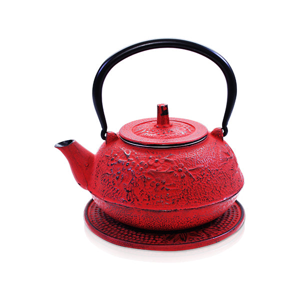 Sakura Red Iron Teapot