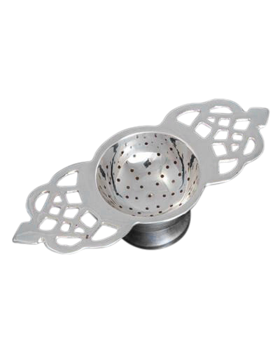Silver Tea Strainer Floral Design
