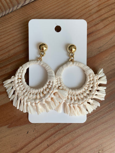 Ivory Raffia Hoop Earrings
