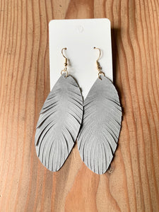 Small Gray Leather Feather Earrings