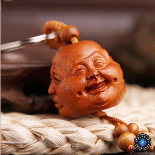 Hand Carved Peach Wood Four Faced Buddha Keychain - case-o-rama.com