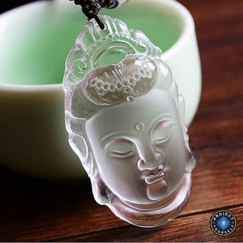 Natural Clear Crystal Carved Guanyin Pendant Necklace - case-o-rama.com