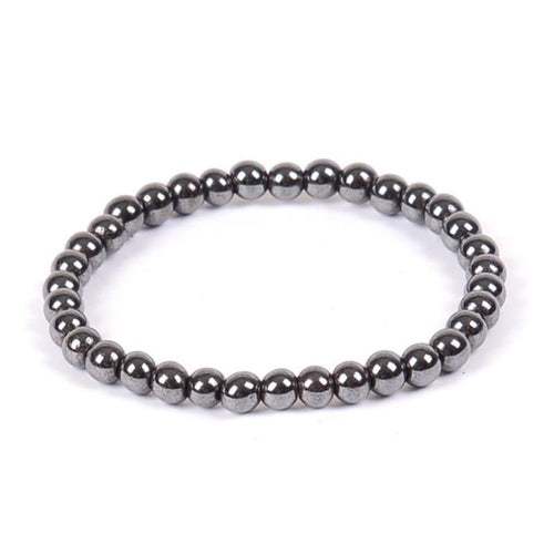 Natural Stone Hematite Magnetic Bracelet Black Beads Therapy Health Care Stretch Bracelet & Bangle Men's Jewelry 6 8 10mm - case-o-rama.com