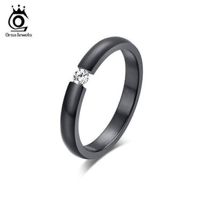 ORSA JEWELS New Fashion 316L Stainless Steel Rings Shining Crystal Men Women Wedding Engagement Rings 4 Colors Available OTR48 - case-o-rama.com