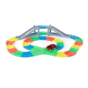 Flexible Assembly, Glow in the Dark Car Track with Bridge (166 pcs.) - case-o-rama.com