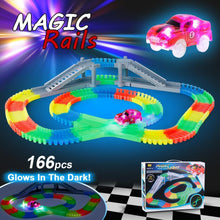 Load image into Gallery viewer, Flexible Assembly, Glow in the Dark Car Track with Bridge (166 pcs.) - case-o-rama.com