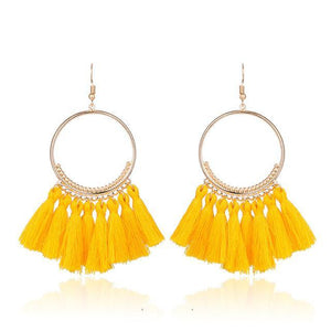 2018 Fashion Bohemian Ethnic Fringed Tassel Earrings for Women Golden Round Circle Ring Dangle Hanging Drop Earrings Jewelry - case-o-rama.com