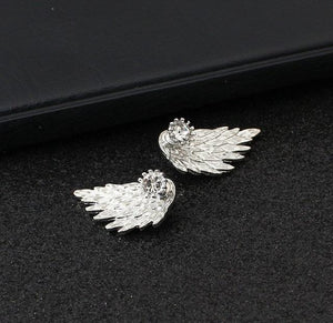 Crystal Flower drop Earrings For Women fashion Jewelry Double Sided Gold Silver earrings gift for party best friend A55 - case-o-rama.com