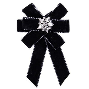 New Bow Crystal Women Brooches Pins Canvas Fabric Bowknot Tie Necktie Corsage Brooch for Women Clothing Dress Accessories - case-o-rama.com