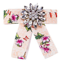 Load image into Gallery viewer, New Bow Crystal Women Brooches Pins Canvas Fabric Bowknot Tie Necktie Corsage Brooch for Women Clothing Dress Accessories - case-o-rama.com