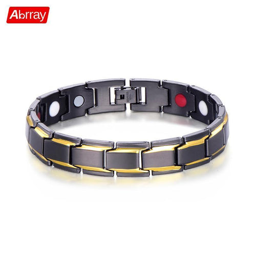 Abrray Magnetic Hematite Copper Bracelet Men's Health Bracelets With Hook Buckle Clasp Therapy Bangles Man Health Care Jewelry - case-o-rama.com