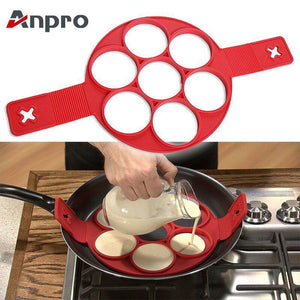 Anpro Nonstick Cooking Tool Egg Ring Maker Egg Silicone Mold Pancake Cheese Egg Cooker Pan Flip Kitchen Baking Accessories - case-o-rama.com