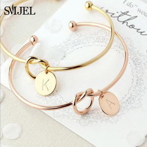 SMJEL Personalized Knot Initial Bracelets Bangles A-Z 26 Letters Initial Charm Bracelet Love Bangles for Women Jewelry Pulseiras - case-o-rama.com