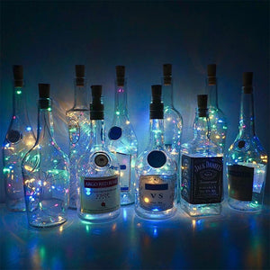 Wine Bottle Lights with Cork Battery - 6.5ft - 20 LED Lights - case-o-rama.com