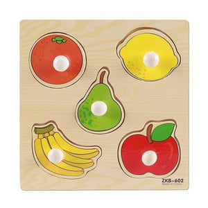 New Hand Grab Board Puzzle Wooden Toys For Child Cartoon Animal Fruit Wood Jigsaw Kids Baby Early Educational Learning Toy X-D01 - case-o-rama.com