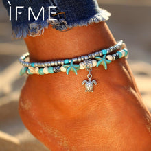 Load image into Gallery viewer, IF ME Bohemian Multiple Layers Starfish Turtle Beads Anklets For Women Vintage Boho Shell Chain Anklet Bracelet Beach Jewelry - case-o-rama.com