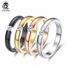 Load image into Gallery viewer, ORSA JEWELS New Fashion 316L Stainless Steel Rings Shining Crystal Men Women Wedding Engagement Rings 4 Colors Available OTR48 - case-o-rama.com