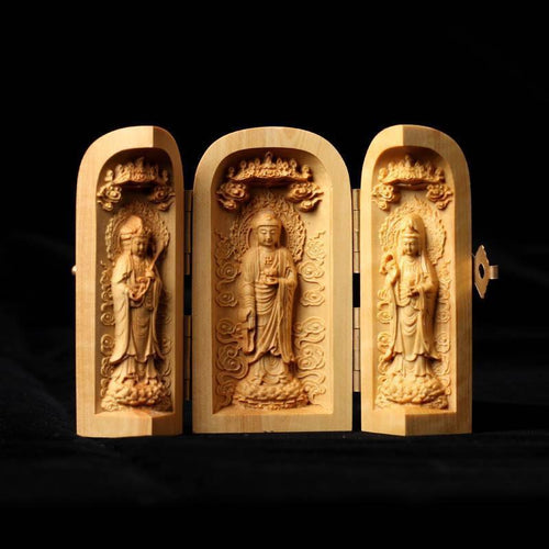 Three Sided Opening Cylinder Carved Wooden Buddha - case-o-rama.com