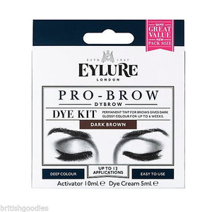 Eylure Dybrow DARK BROWN Dark Glossy Brows Eyebrow Dye Kit