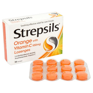 Strepsils Orange With Vitamin C 36 Lozenges