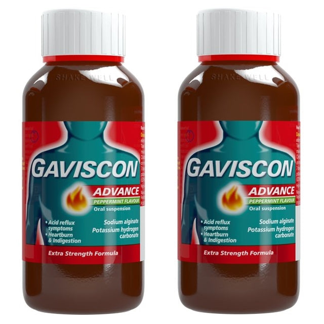 Gaviscon Advance Peppermint Flavour Oral Suspension, 300ml Twin Pack