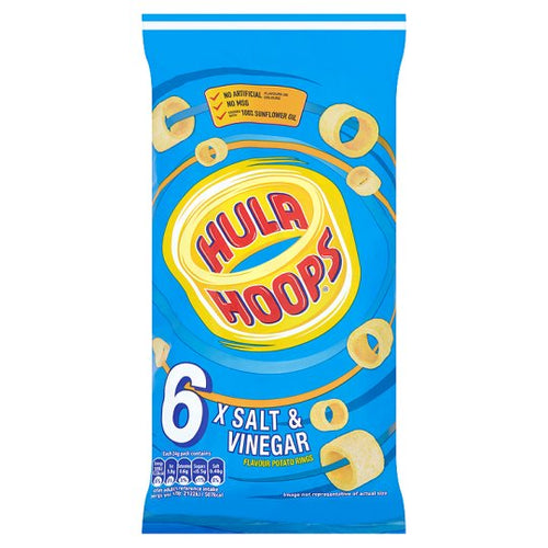 Hula Hoops Salt & Vinegar Flavour Potato Rings 6 x 24g packs