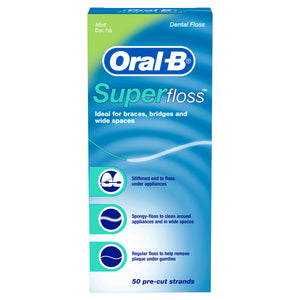Oral-B Super Floss 50 Pre-Cut Strands Mint flavor