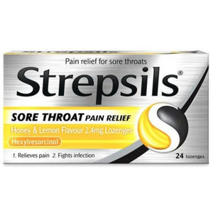 Strepsils Sore Throat Pain Relief Honey & Lemon Lozenges 24 Lozenges